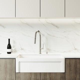 VIGO 33-inch Matte Stone Kitchen Sink Set with Greenwich Faucet