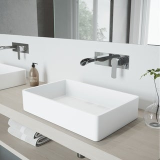 VIGO Magnolia Vessel Bathroom Sink Set and Cornelius Wall Mount Faucet