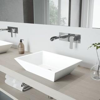 VIGO Vinca Vessel Bathroom Sink Set with Cornelius Wall Mount Faucet