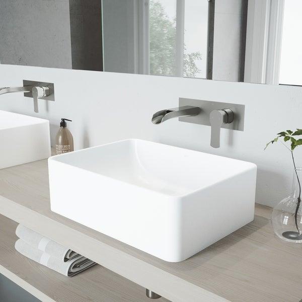 VIGO Matte Stone Vessel Bathroom Sink Set with Wall Mount Faucet