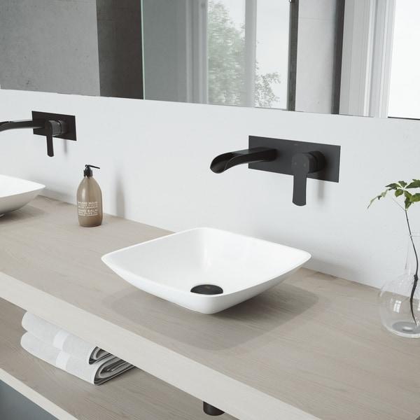 VIGO Hyacinth Vessel Bathroom Sink Set and Cornelius Wall Mount Faucet