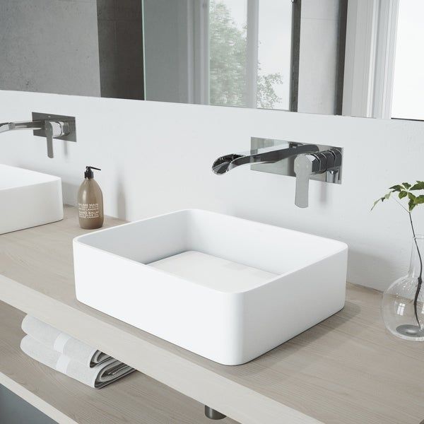 VIGO Jasmine Vessel Bathroom Sink Set with Cornelius Wall Mount Faucet