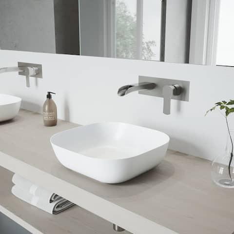 VIGO Camellia Vessel Bathroom Sink Set and Cornelius Wall Mount Faucet
