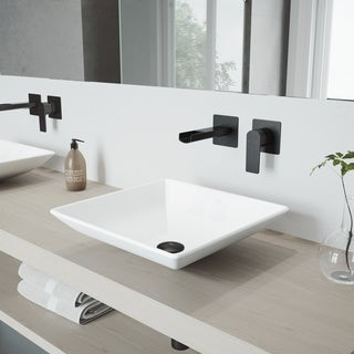 VIGO Hibiscus Vessel Bathroom Sink Set with Atticus Wall Mount Faucet