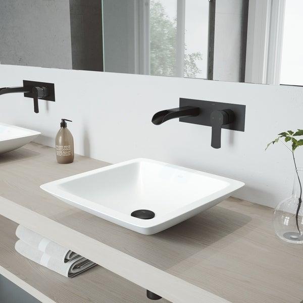 Shop Vigo Begonia Vessel Bathroom Sink Set With Cornelius Wall Mount