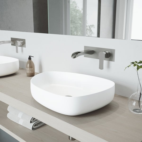 VIGO Peony Vessel Bathroom Sink Set with Cornelius Wall Mount Faucet