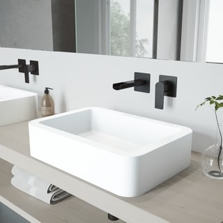 VIGO Petunia Vessel Bathroom Sink Set with Atticus Wall Mount Faucet