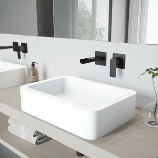 VIGO Petunia Vessel Bathroom Sink Set with Atticus Wall Mount Faucet