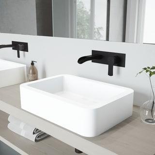 VIGO Petunia Vessel Bathroom Sink Set with Cornelius Wall Mount Faucet