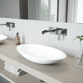 VIGO Wisteria Vessel Bathroom Sink Set and Cornelius Wall Mount Faucet