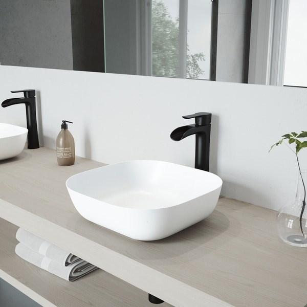 VIGO Camellia Matte Stone Bathroom Sink Set with Niko Vessel Faucet