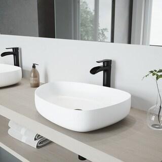 VIGO Peony Matte Stone Bathroom Sink Set with Niko Vessel Faucet