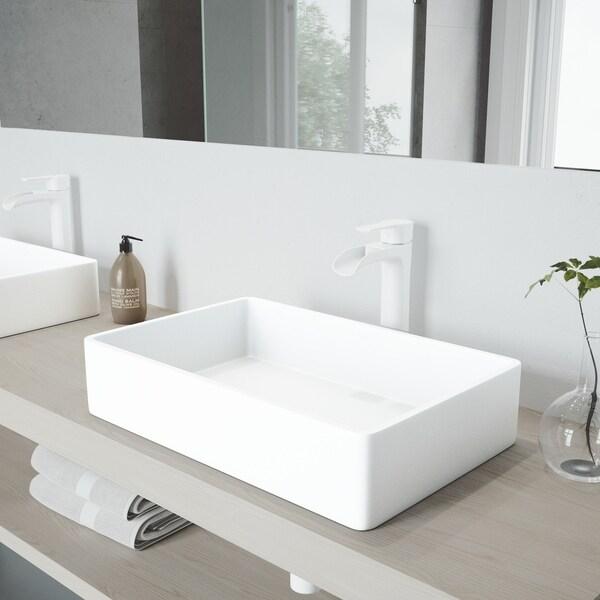 VIGO Magnolia Matte Stone Bathroom Sink Set with Niko Vessel Faucet
