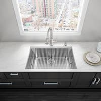 VIGO 32 Inch Undermount Stainless Steel Single Bowl Kitchen Sink with SoundAbsorb Technology