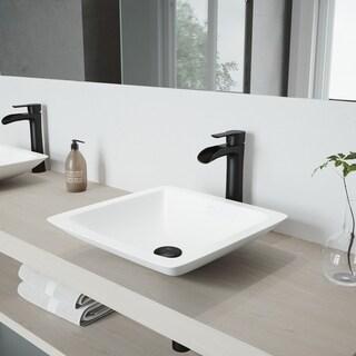 VIGO Begonia Matte Stone Bathroom Sink Set with Niko Vessel Faucet