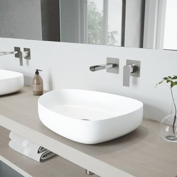 VIGO Peony Vessel Bathroom Sink Set with Atticus Wall Mount Faucet