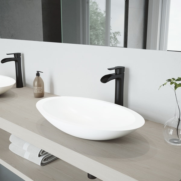 VIGO Wisteria Matte Stone Bathroom Sink Set with Niko Vessel Faucet