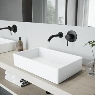 VIGO Magnolia Matte Stone Bathroom Sink Set and Olus Wall Mount Faucet