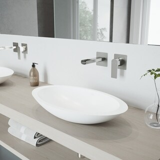 VIGO Wisteria Vessel Bathroom Sink Set with Atticus Wall Mount Faucet