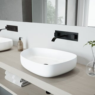 VIGO Peony Vessel Bathroom Sink Set with Titus Wall Mount Faucet