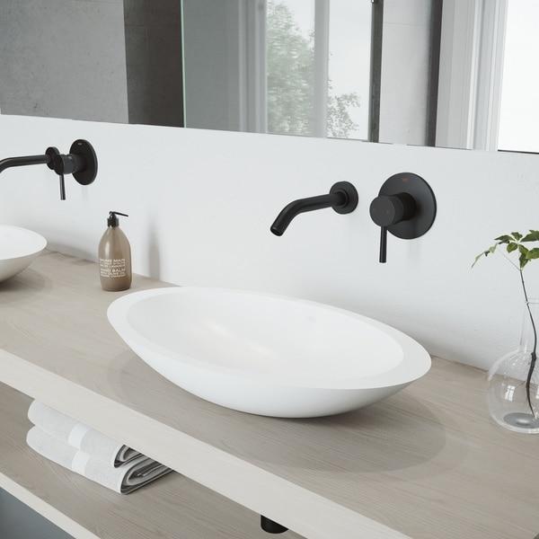 VIGO Wisteria Matte Stone Bathroom Sink Set and Olus Wall Mount Faucet