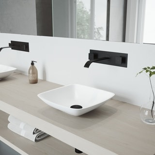 VIGO Hyacinth Vessel Bathroom Sink Set with Titus Wall Mount Faucet