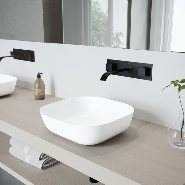 VIGO Matte Stone Bathroom Sink Set with Wall Mount Faucet