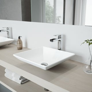 VIGO Hibiscus Matte Stone Vessel Bathroom Sink Set with Amada Faucet
