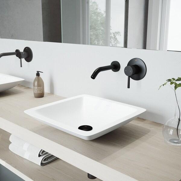 VIGO Begonia Matte Stone Bathroom Sink Set with Olus Wall Mount Faucet