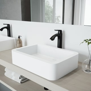VIGO Petunia Matte Stone Bathroom Sink Set with Linus Vessel Faucet