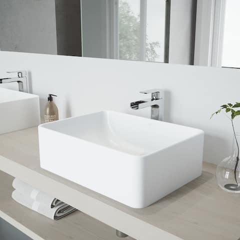 VIGO Amaryllis Matte Stone Vessel Bathroom Sink Set with Amada Faucet
