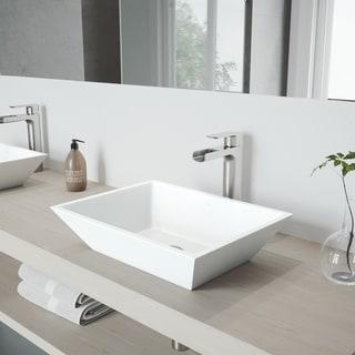 VIGO Vinca Matte Stone Vessel Bathroom Sink Set with Amada Faucet