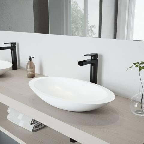VIGO Wisteria Matte Stone Vessel Bathroom Sink Set with Amada Faucet