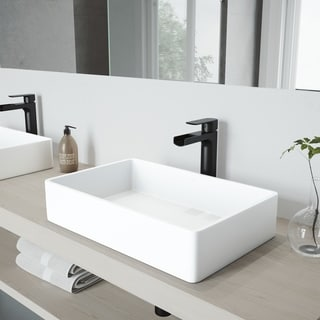 VIGO Magnolia Matte Stone Vessel Bathroom Sink Set with Amada Faucet