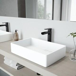VIGO Magnolia Matte Stone Vessel Bathroom Sink Set with Amada Faucet