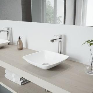 VIGO Hyacinth Matte Stone Vessel Bathroom Sink Set with Amada Faucet