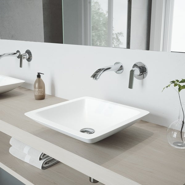 VIGO Begonia Vessel Bathroom Sink Set with Aldous Wall Mount Faucet