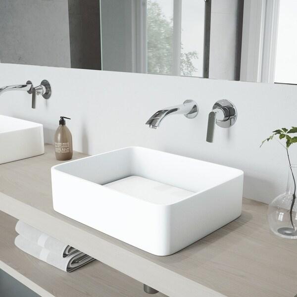 VIGO Jasmine Vessel Bathroom Sink Set with Aldous Wall Mount Faucet