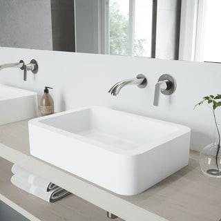VIGO Petunia Vessel Bathroom Sink Set with Aldous Wall Mount Faucet