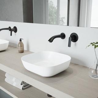 VIGO Camellia Vessel Bathroom Sink Set with Aldous Wall Mount Faucet