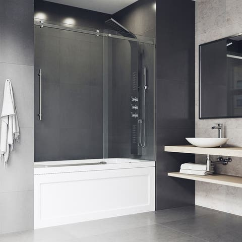 VIGO Luca Adjustable Frameless Sliding Tub Door