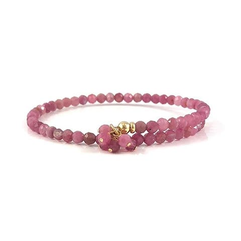 Rebecca Cherry Handmade Pink Tourmaline Bangle Bracelet Adjustable 7.5""