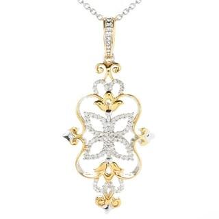Michael Valitutti Palladium Silver Diamond Flower Pendant