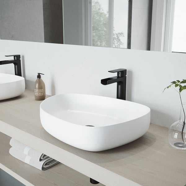 VIGO Peony Matte Stone Vessel Bathroom Sink Set with Amada Faucet