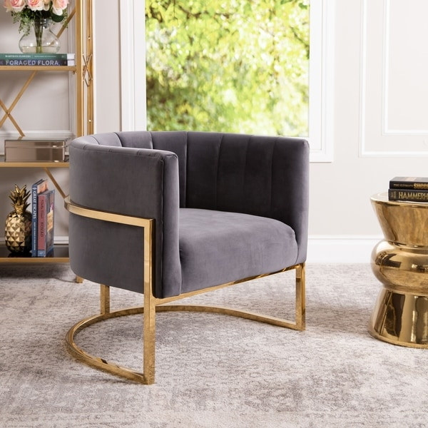 Abbyson Celine Channel Tufting Velvet Accent Chair. Opens flyout.