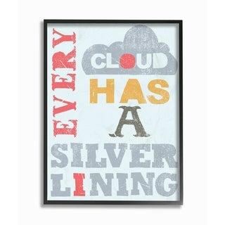 The Kids Room By Stupell Red Blue Yellow Every Cloud Has A Silver Lining Typography Framed Wall Art,11x14, Proudly Made in USA