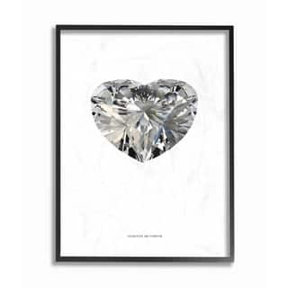 The Stupell Home Decor Collection Diamonds Are Forever Minimal White Heart Cut Shape Framed Wall Art, 11x14, Proudly Made in USA