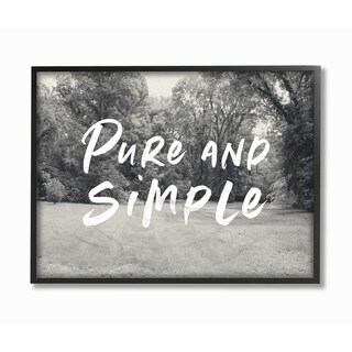 The Stupell Home Decor Collection Pure And Simple Farmhouse Yard Typography Framed Wall Art, 11x14, Proudly Made in USA