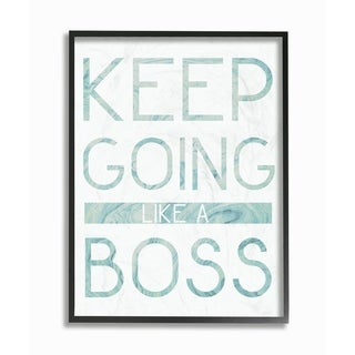 The Stupell Home Decor Collection Keep Going Like A Boss Typography Framed Wall Art, 11x14, Proudly Made in USA - Multi-color