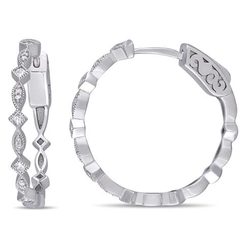 Miadora 10k White Gold 1/4ct TDW Round and Princess-Cut Diamond Infinity Hoop Earrings